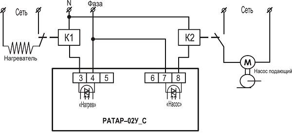 Подключение терморегулятора с выходом оптосимистор РАТАР-02У с выходом С