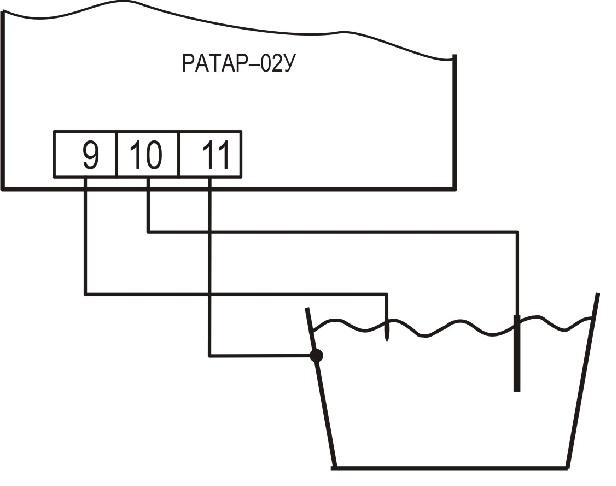 Подключение кондуктометрических датчиков уровня к терморегулятору Ратар-02У