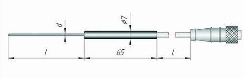 Чертеж погружного датчика температуры К1И-КК для измерителя IT-8