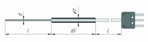 Чертеж погружного датчика температуры К1И-КП для измерителя IT-8