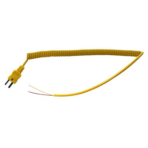 LT-001 - витой провод, с плоским разъемом - вилкой, мини для подключения термопар типа К, 2 м, желтый.