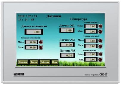 Экран Датчики. Текущие значения и значения уставок датчиков.