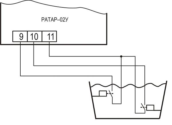 Подключение датчиков уровня поплавкового типа к терморегулятору Ратар-02У
