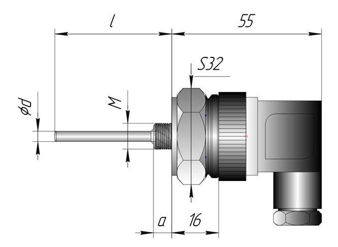 Термопреобразователь сопротивления ТСП, ТСМ - DIN с разъемным подключением