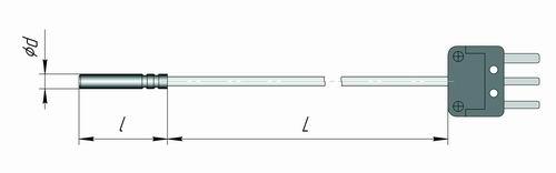 Чертеж датчика температуры для контроля температуры бетона К2-КП для измерителя IT-8