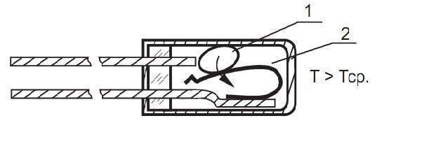 Реле температурное с самовозвратом РТ-1/ Вид внутри