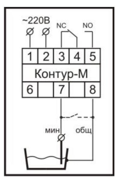 Схема подключения реле контроля уровня «Контур–М» при режиме откачивания до нижнего уровня