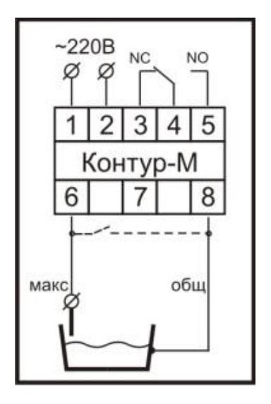 Схема подключения реле контроля уровня «Контур–М» при режиме докачивания до верхнего уровня