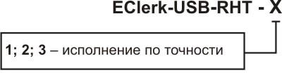 Обозначение при заказе регистратора влажности и температуры EClerk-USB-RHT