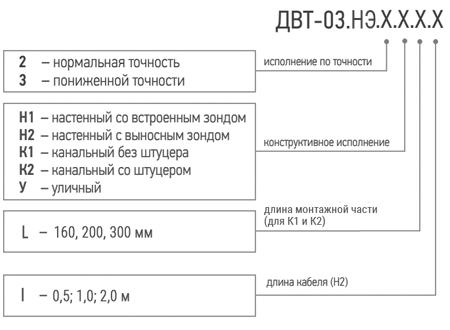 Условное обозначение датчика влажности ДВТ-03.ТЭ при заказе