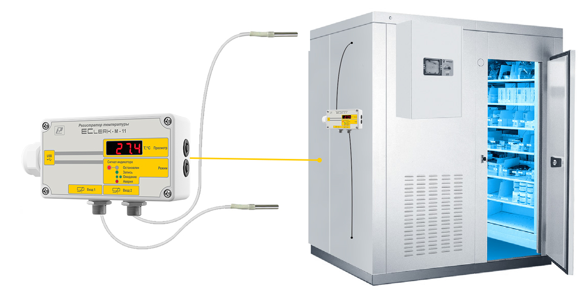 Регистратор EClerk-M-2Pt-HP применяется для регистрации параметров в любой холодовой цепи одновременно в 2 точках.